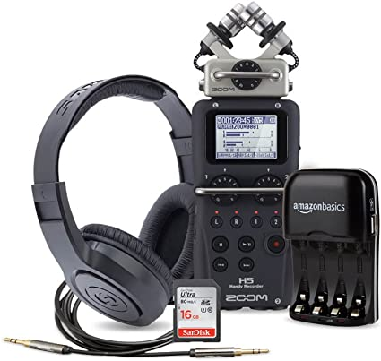 Zoom H5 Four-Track Portable Recorder with Samson headphones