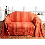 """Homescapes Jeté de lit/Jeté de canapé Orange à Rayures de 260 x 360 cm en pur Coton appartenant à la collection """"Stripes"""""""