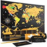 """Scratch Off Map of The World, Detailed Travel Art Poster, Fits 17"""" x 24"""" Frame, Comes with Scratch Tool, 20 Push Pins, 4 Stickers, Cleaning Cloth, Carry Bag + Gift Tube by Newverest"""