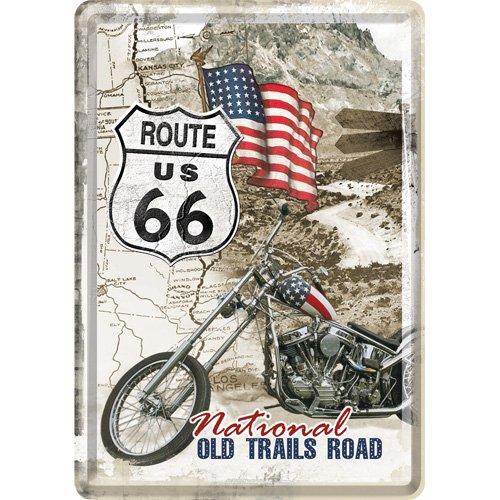 Route66 Plaque en metal 10 x 14 cm Old Trails Road
