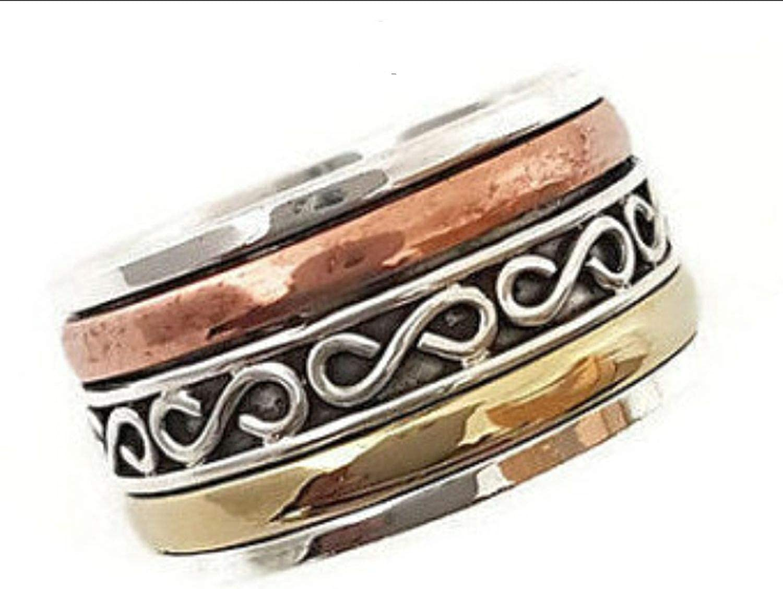 Multistone Ring Worry Ring Prayer Ring 10US JewelsExporter Sterling Silver Ring.Spinning Ring,Opal Spinner Ring Meditation Ring Spin Ring