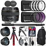 Canon EF 85mm f/1.8 USM Lens + 0.43X Wide Angle Lens + 2.2x Telephoto Lens + UV-CPL-FLD Filters + Macro Filter Kit + 72 Monopod + Tripod + 16GB Class 10 + Backpack + Tripod - International Version