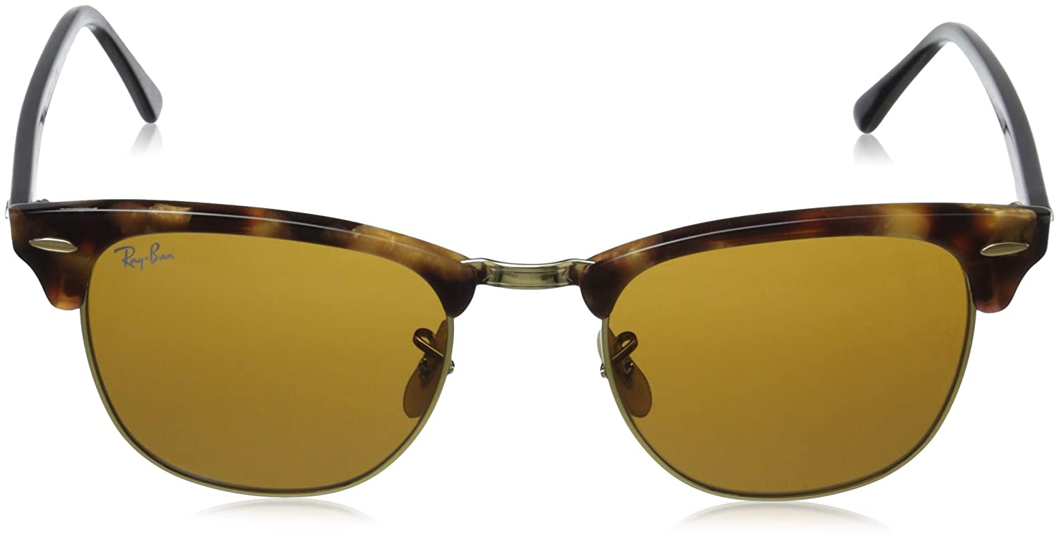 12573f9b0a Amazon.com  Ray-Ban CLUBMASTER - SPOTTED BROWN HAVANA Frame BROWN Lenses  51mm Non-Polarized  Clothing