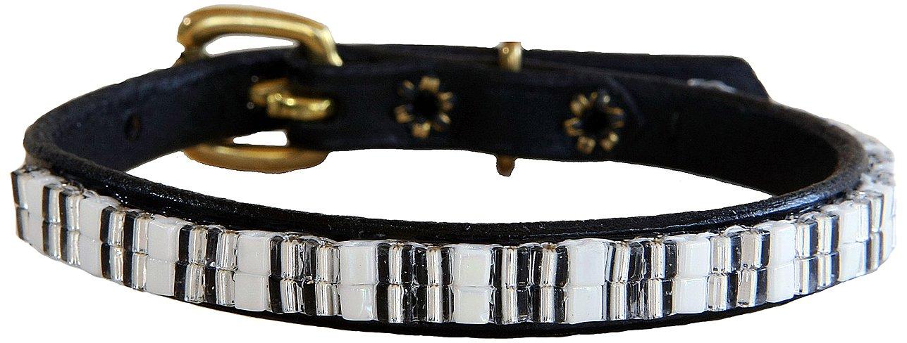 Just Fur Fun Dog Collar, Snow Flake, 16-Inch, Black Leather