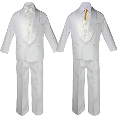 4175b753523e 6pc Boys White Satin Shawl Lapel Suits Tuxedo EXTRA Mustard Satin Necktie  Set (S: