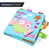 NEEDRA Fabric Activity Crinkle Cloth Books for Babies, Handmade Educational Toys for Baby, 1 Year Old, Toddler with Peekaboo Flap, Interactive Boy Girl, Best Gift
