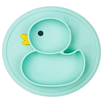 Baby Mat Non-Slip Children Food Duck Shaped Placemat Suction Compartment Tray