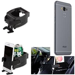 Titulaire Smartphone pour la voiture pour Asus ZenFone 3 Max (ZC553KL), noir   Support Porte-Gobelet voiture Tasse Bouteille Car Air Ventilation Mount Cup Pliable Boisson canette fixe aerations - K-S-Trade(TM)