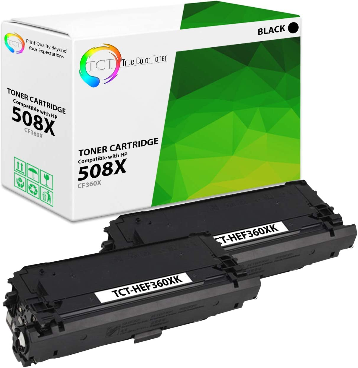 12,500 Pages TCT Premium Compatible Toner Cartridge Replacement for HP 508X CF360X Black High Yield Works with HP Color Laserjet Enterprise M552 M553 MFP M577 Printers 2 Pack