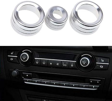 Bleu YUGUIYUN 3pcs Bouton de climatisation int/érieure Bague Audio Cercle Anneau De Climatisation Bouton pour Old X5 E50 E70 X6 E71 E72
