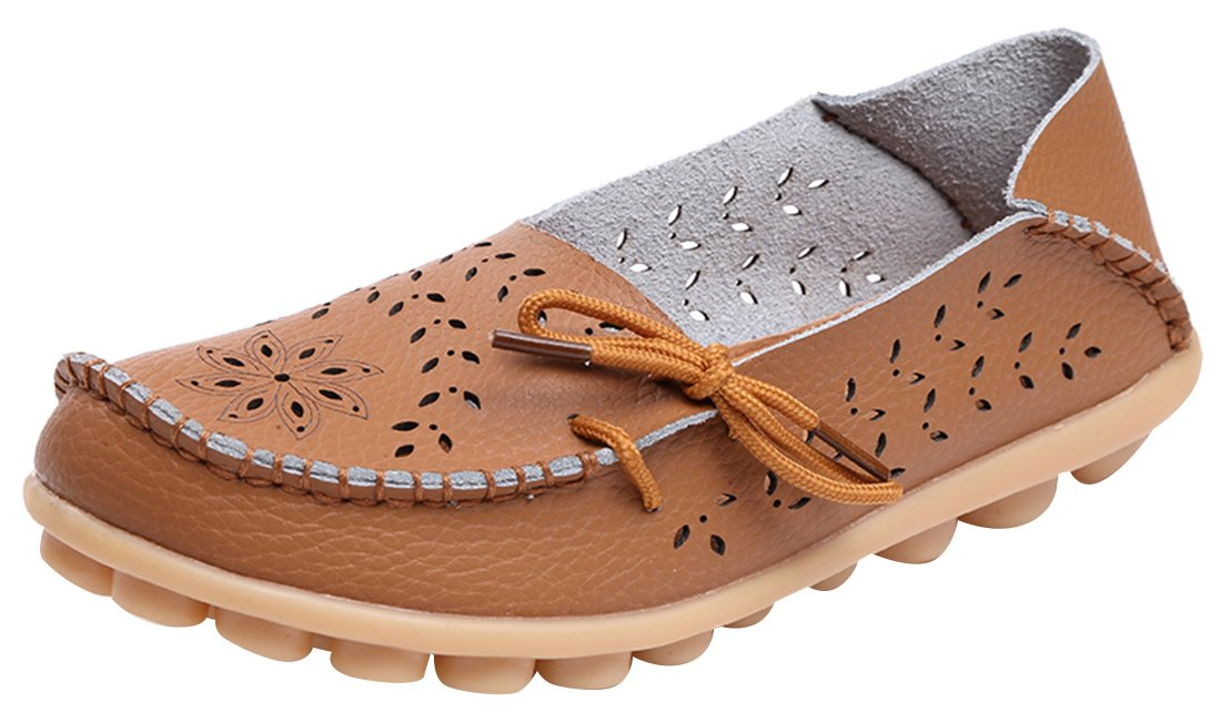 UJoowalk Women's Light Brown Casual Cowhide Leather Hollow Out Driving Loafer Shoes Boat Flats - Size 10.5