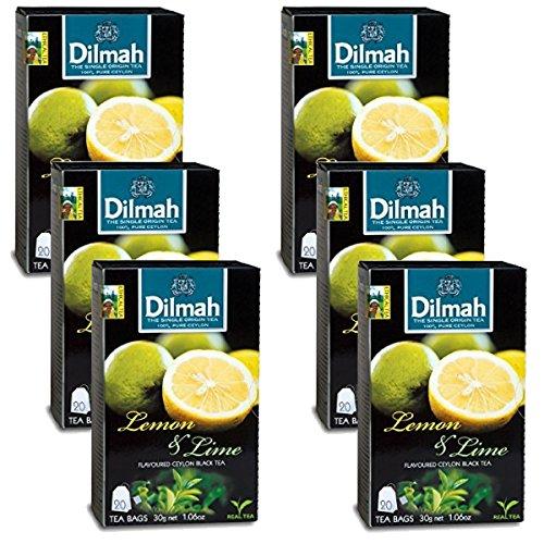 - Dilmah Lemon and Lime Flavored Ceylon Black Tea - 20 Tea Bags X 6 Pack - Sri Lanka Ceylon Dilmah Lemon Lime Tea Real Tea