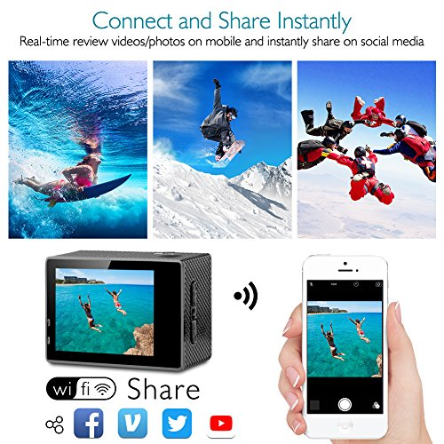 61aH2bPw09L - Dragon Touch 4K Action Camera 16MP Sony Sensor Vision 3 Underwater Waterproof Camera 170° Wide Angle WiFi Sports Cam with Remote 2 Batteries and Mounting Accessories Kit