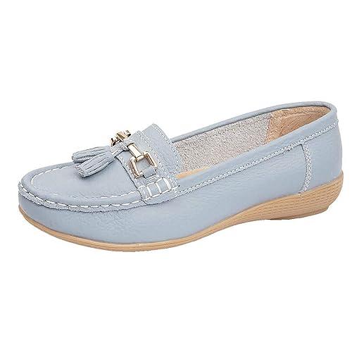 de76af820ee Ladies Nautical Leather Smart Loafer Tassel Moccasin Flat Slip On Comfort  Shoe Size 3-8