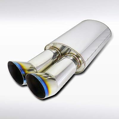 """Autozensation Dual Slant Slash Burnt Rainbow Tip Exhaust Muffler DTM 2.5"""" Inlet: Automotive"""