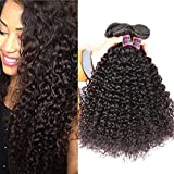 (US) Brazilian Curly Hair 3 Bundles 10A Grade Unprocessed Brazilian Kinkys Curly 300g Brazilian Human Hair Weave Extensions Natural Color Can Be Dyed and Bleached 8 10 12