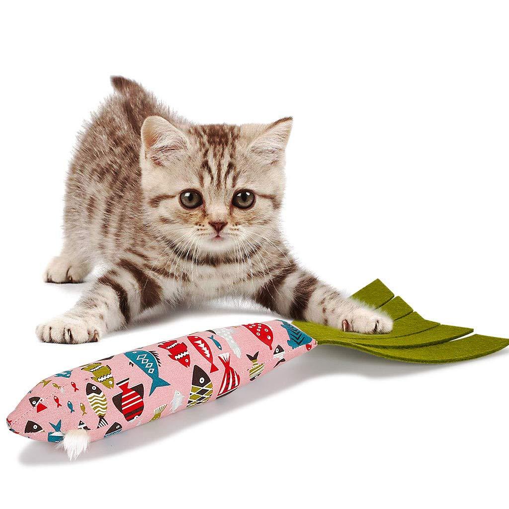 gugs Pet Cat Refilling Catnip Simulation Plush Fish cat Interactive Chewing Toys Shape Doll Stuffed Interactive (Pink)