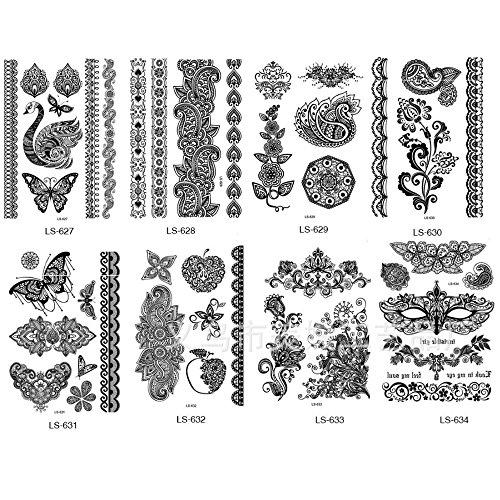 Miss Flora Non-toxi Black Henna Bracelets Laces Patterns Tattoos Women Tattoos Hands, Necks, Shoulder Body Paints Girl Stickers- Teen Makeup Kit, Skin Art (Tatoo Pack - Mixed 5 Random (Tatoo Pattern)