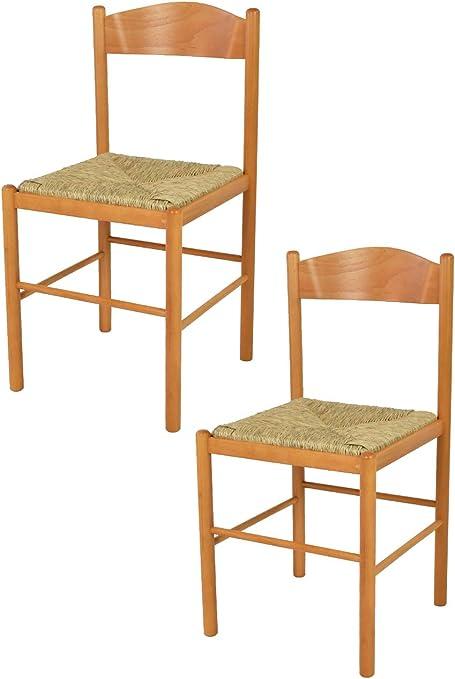 tmcs Tommychairs Set 2 sedie Classiche Pisa 38 per Cucina, Bar e Sala da Pranzo, con Robusta Struttura in Legno di faggio Verniciato Color Miele e
