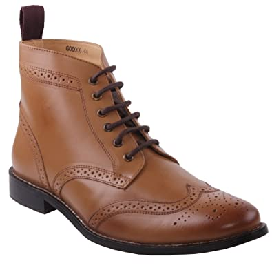 Mens Real Leather Tan Brown Brogues Boots Smart Formal Slip On Zip Ankle Shoes UK Size 6 12