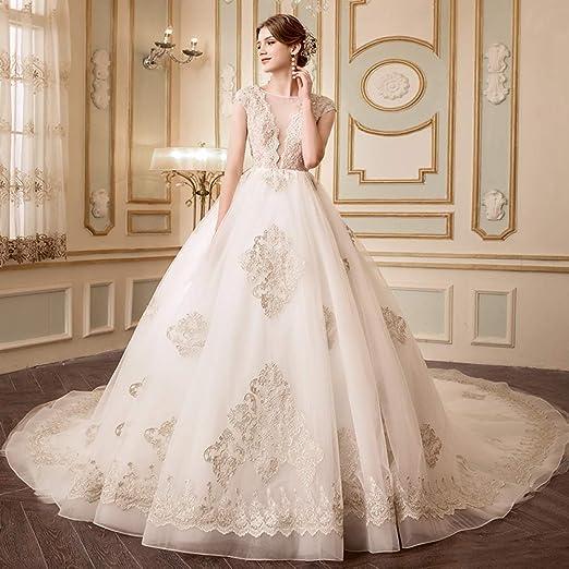 WFL La Novia se casó con el Vestido de Novia de la Corte de luz Las Mujeres Embarazadas con Cola Princesa sueño Adelgazar Simple Sen Femenina: Amazon.es: ...
