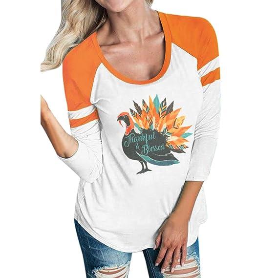 VJGOAL Moda Casual de Las Mujeres Agraciado Turquía Impreso Camisa de Manga Larga Blusa Camiseta Superior