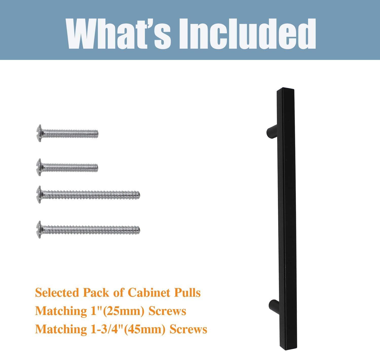 10 unidades Juego de tiradores de puerta de acero inoxidable para esquina cuadrada de 1//2 ancho
