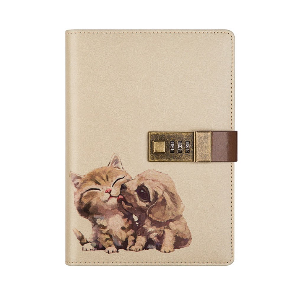 Odowalker Crafted Notebook with Combination Lock Diary Writing PU Leather Cute Animal Journal Notepad with Pen Holder for Girl and Boy Christmas or Valentine's Gift Refillable A5 112 Sheets (Cat&Dog)