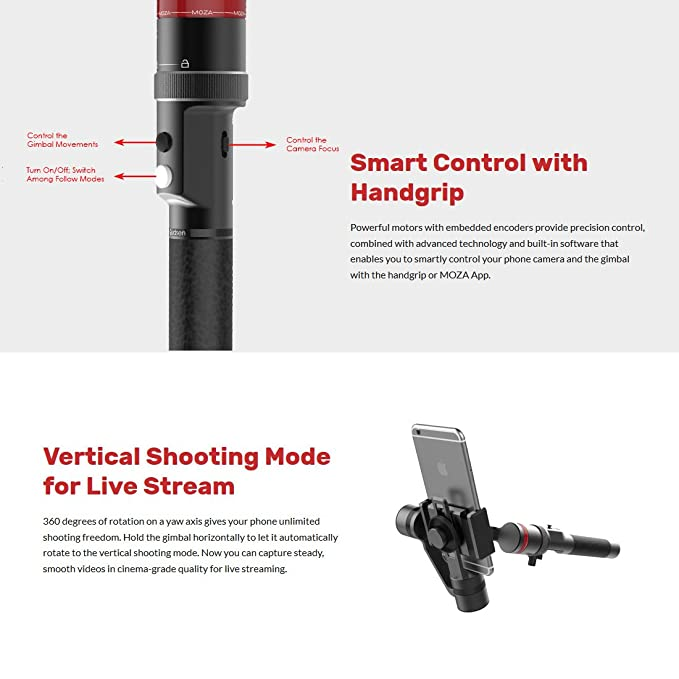 MOZA Mini-C 3-Axis Handheld Wearable Gimbal for: Amazon in