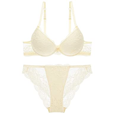 7e81a60995dd8 Women Fashion Push Up Bra Panty Set Underwear Breathable Lace Sexy Lingerie  Intimates (32A