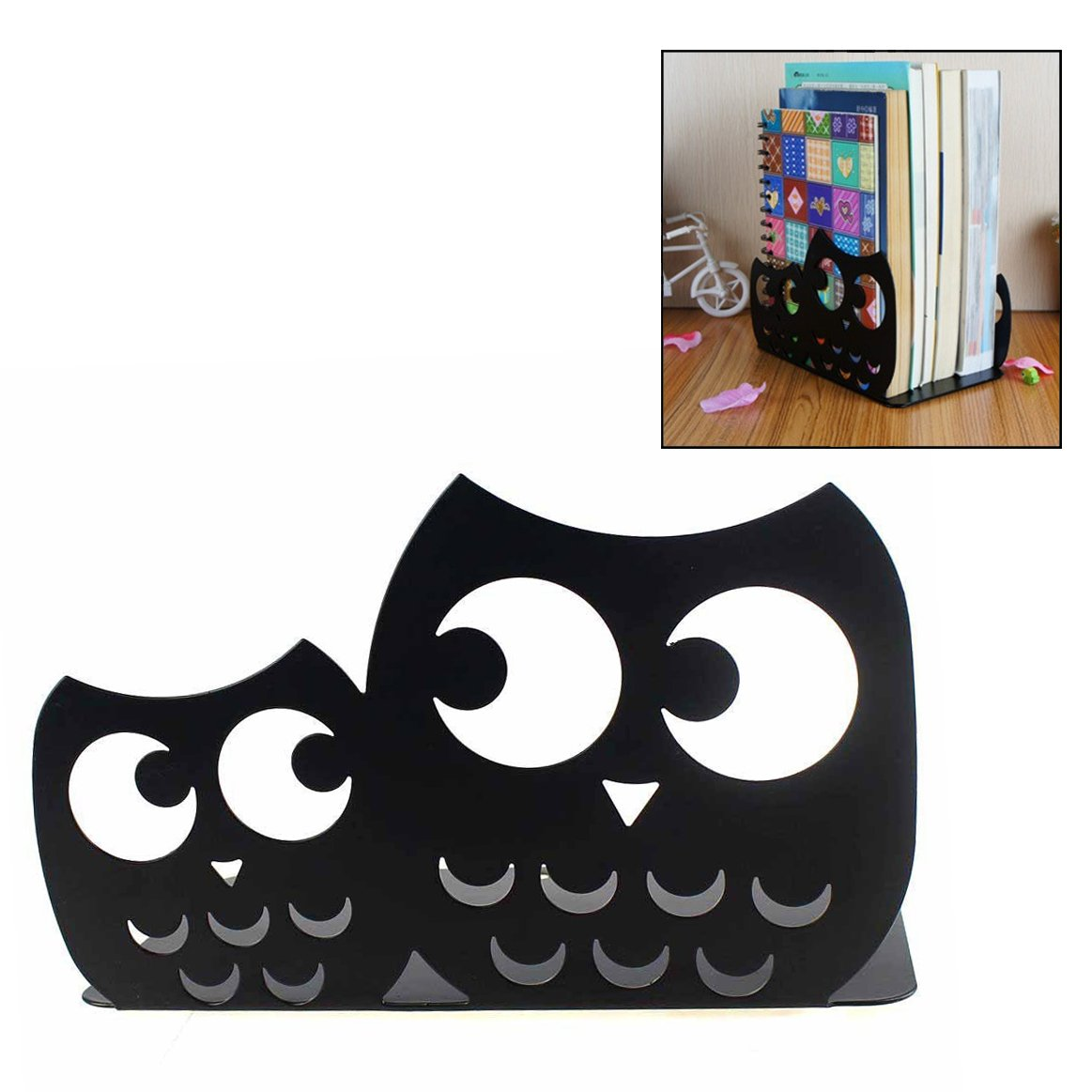OFKP One Pair Cute Owl School Office Home Study Metal Bookends For Decoration Gift (Black)