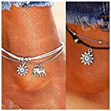 Kucheed Boho Anklets Blue Starfish Turtle Multi-Layer Charm Beads Beach Handmade Anklet Foot Jewelry Gifts for Women Girls