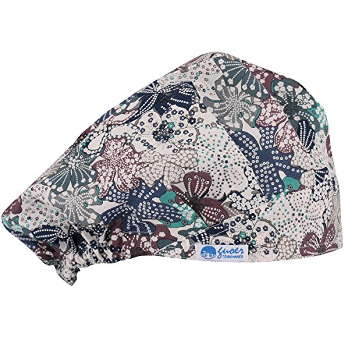 GUOER Scrub Hat Bouffant Scrub Cap One Size Multi Color (Color11)