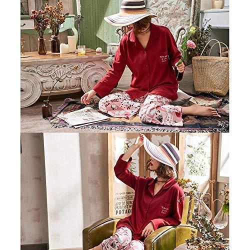 Primavera Pigiameria Pigiama Stampa Donna M Notte Autunno Cotone Da GYZ Rosso Camicia Da Donne Camicie Strada Da Pigiami Notte Battuta Zg6zxdqwCn