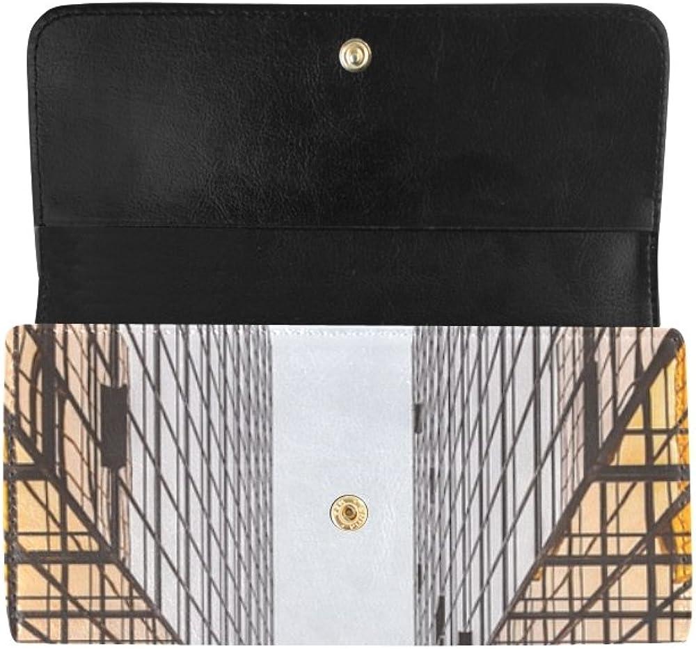 Unique Custom Architecture Skyscraper Urban City Office Women Trifold Wallet Long Purse Credit Card Holder Case Handbag