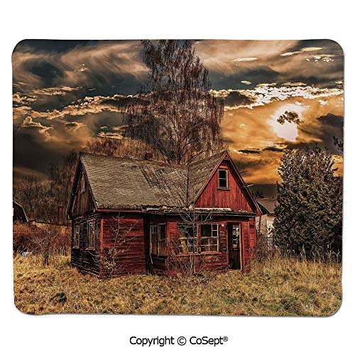 Ergonomic Mouse pad,Scary Horror Movie Themed Abandoned House in Pale Grass Garden Sunset Photo,Dual Use Mouse pad for Office/Home (11.81