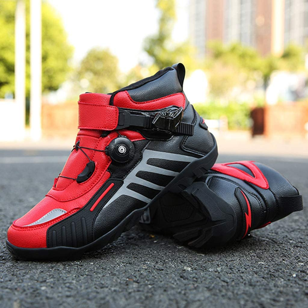 WERT Motorbike Boots Mens Racing Armour Heavy-Duty Scooter On-Road Boot Anti Slip Short Ankle Shoes Waterproof Motorcycle Shoes