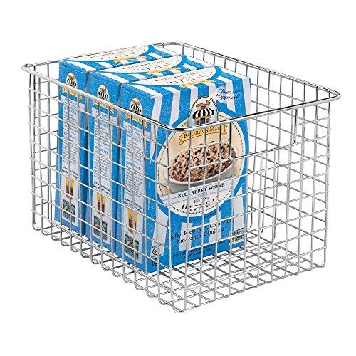 mDesign Farmhouse Decor Metal Wire Food Storage Organizer, Bin Basket with Handles for Kitchen Cabinets, Pantry, Bathroom, Laundry Room, Closets, Garage - 12 x 9 x 8 - Chrome