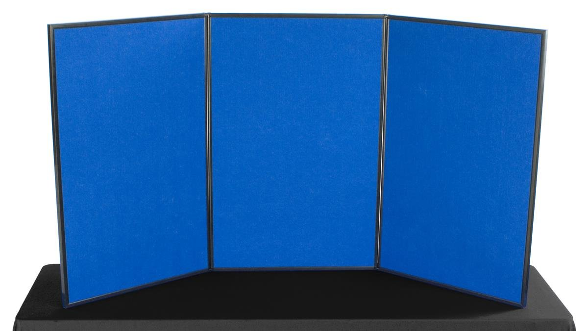 Displays2go 3-Panel Tabletop Display Board, 72 x 36 - Blue and Red Velcro-Receptive Fabric, Exhibition Display System (3P7236BLRD)