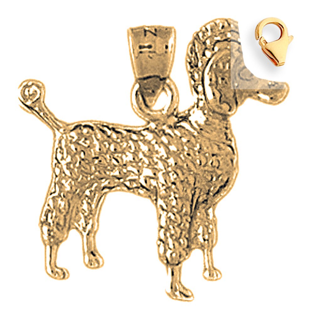 22mm Silver Yellow Plated Poodle Dog Charm