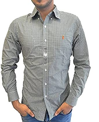 738f499abffd5 Polo Ralph Lauren Men s Slim Fit Long Sleeve Button-Down Check Shirt Olive  White