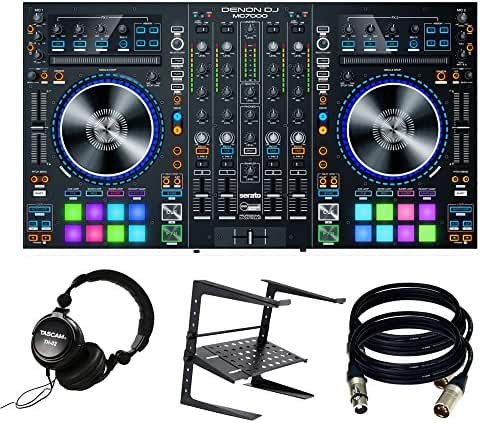 Denon DJ MC7000 | Premium 4-Channel DJ Controller. With Free Tascam TH-02 + Laptop Stand and 2 XRL to XLR Cables.