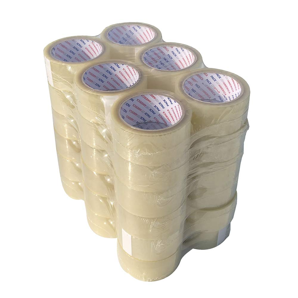 Pack of America 36 Rolls Clear Packing and Shipping Tape 55 Yards 2'' 1.8 Mil Economical Adhesive Tapes for Moving Boxes, Carton Sealing, Home & Office Mailing, Commercial Warehouse Depot by Pack of America (Image #1)