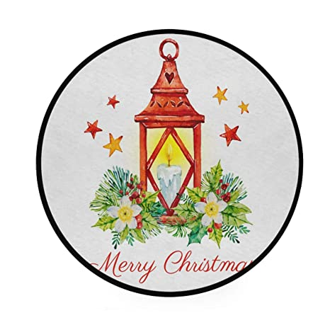 Feliz tapete de Navidad, redondo, antideslizante, suave ...