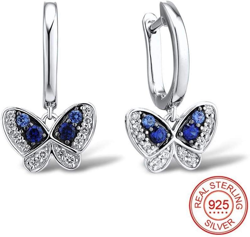 MZNSQB Pendientes de Mariposa con Gota de Plata para Mujer Piedras Naturales Azules Piedras de CZ Pendientes de Mujer Joyería de Moda Pura de Plata esterlina 925