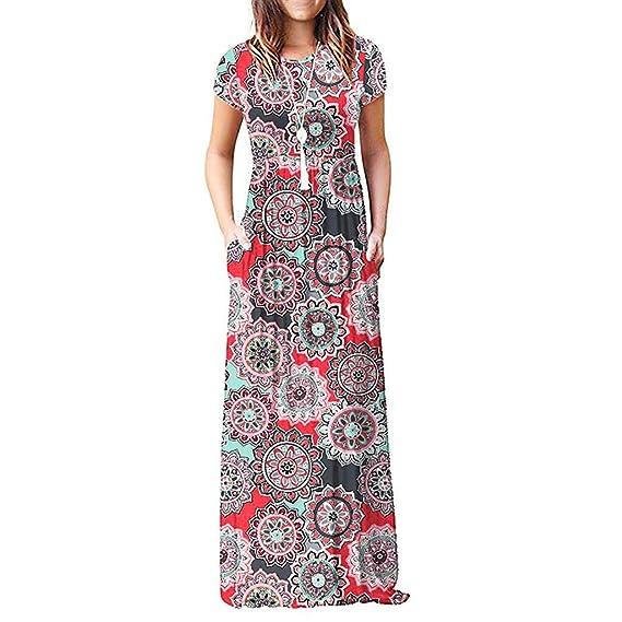 7d7043a63313 SHJIRsei Vestidos para Mujer Vestido Largo Floral Print Casual Verano para  Noche Fiesta Playa Fiesta Manga Corta Sin Hombro Cuello Redondo Vestido ...
