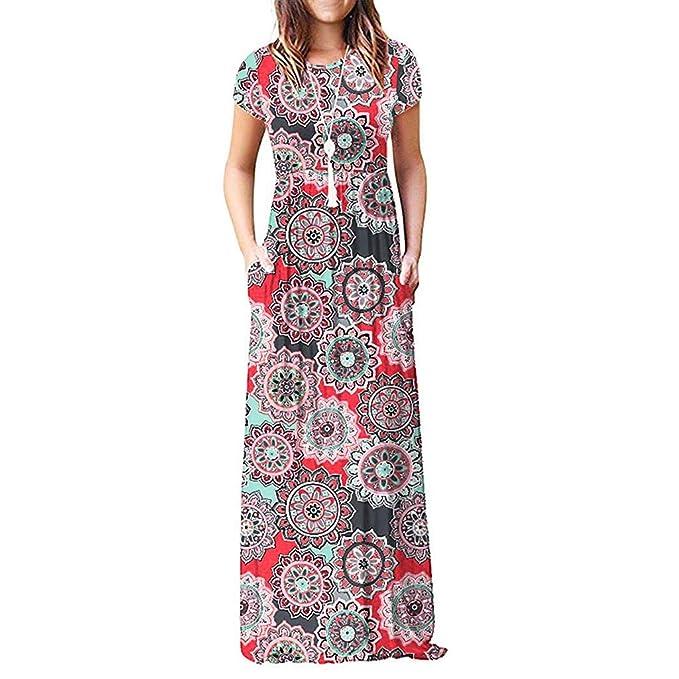 cd7121ed5 SHJIRsei Vestidos para Mujer Vestido Largo Floral Print Casual Verano para Noche  Fiesta Playa Fiesta Manga Corta Sin Hombro Cuello Redondo Vestido Navidad  ...