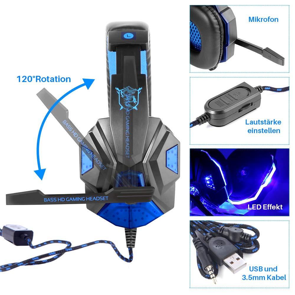 JUHALL PS4 Gaming Kopfhörer, Gaming Headset mit USB/Klinken-Stecker Mikrofon LED Effekt für PC Xbox One Film Gaming Spielen Chat Musik.