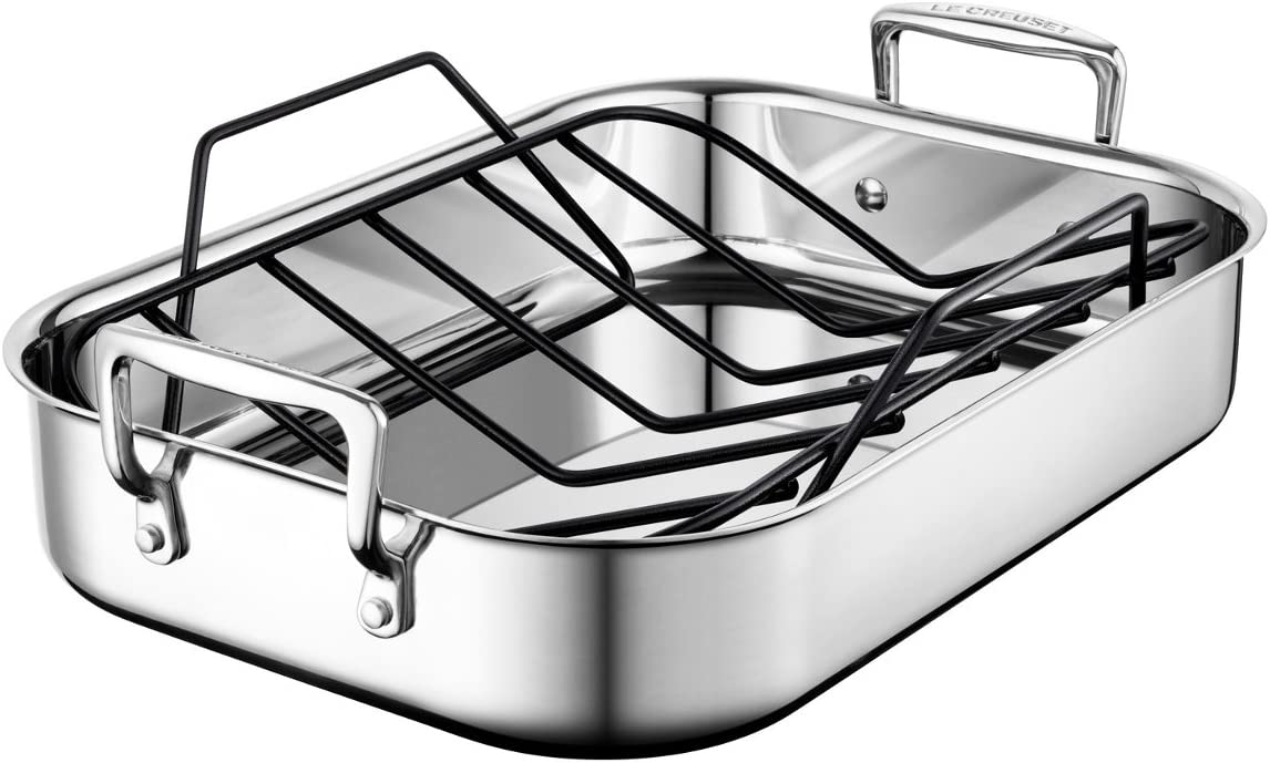 Le Creuset SSC8611-35P Stainless Steel Small Roasting Pan With Nonstick Rack, 14 x 10-Inch