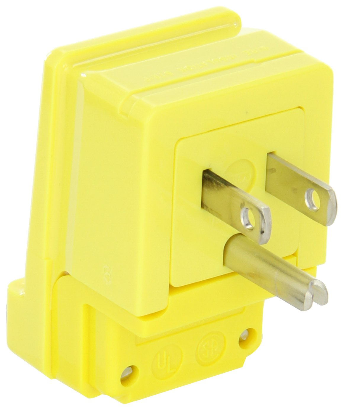 Woodhead 14R47 Safeway Plug, Industrial Duty, Right Angle, Straight Blade, 2 Poles, 3 Wires, NEMA 5-15 Configuration, Nylon, Yellow, 15A Current, 125V Voltage
